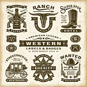 Vintage Western Labels And Badges Set