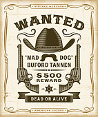 Vintage Western Wanted Label Graphics