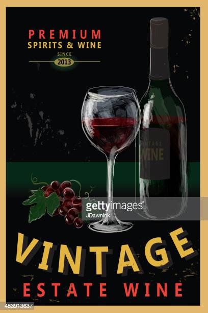 vintage wine poster design - red wine stock illustrations, clip art, cartoons, & icons