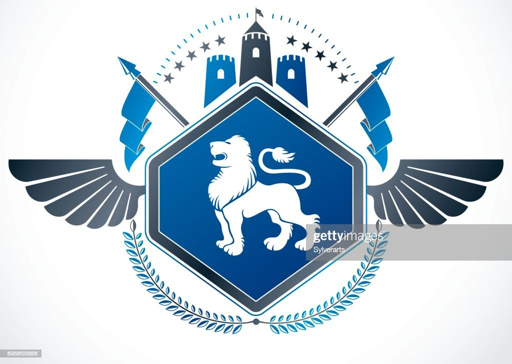 Vintage winged emblem created in vector heraldic design and composed using wild lion illustration and ancient tower.