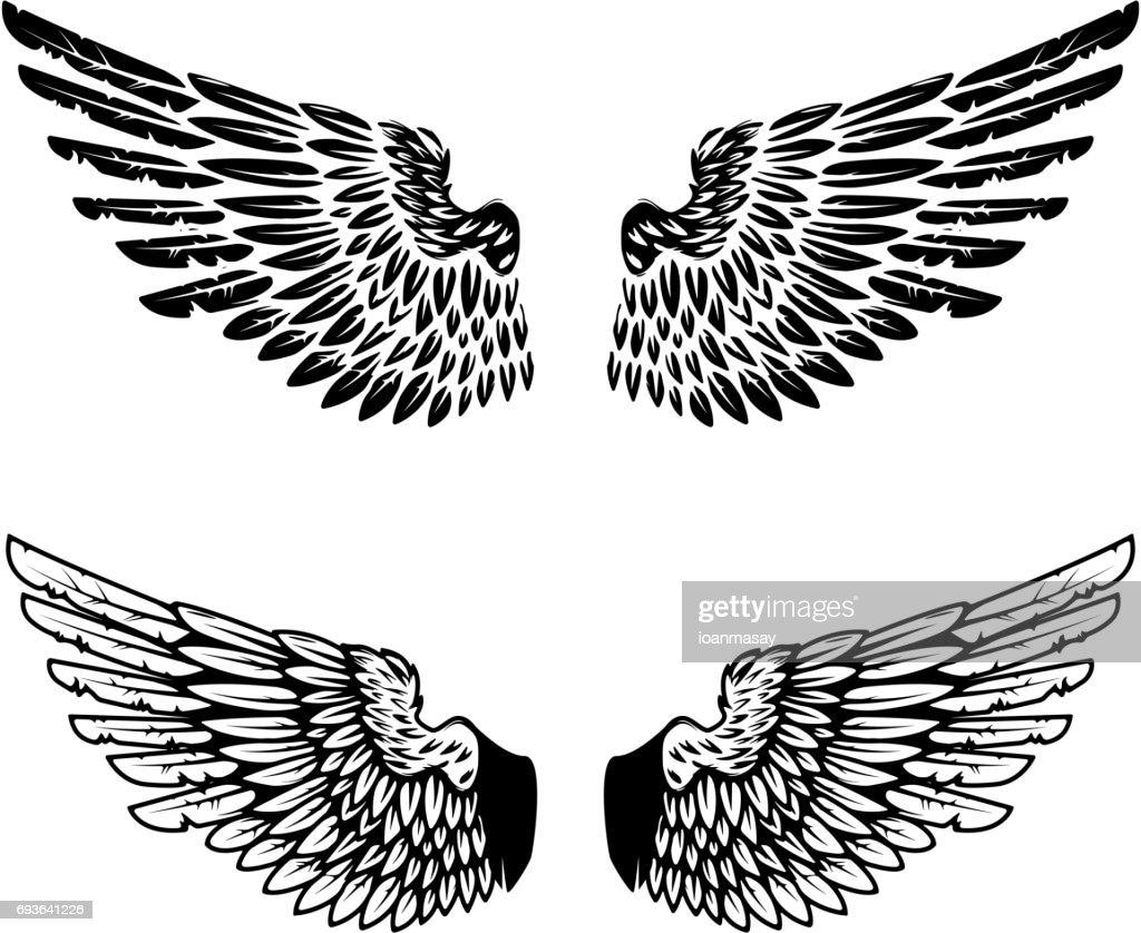 Vintage wings isolated on white background. Design elements for label, emblem, sign, brand mark. Vector illustration.