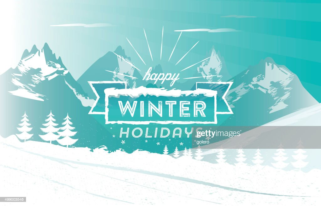 vintage winter holiday line symbol on snowy high mountain landscape