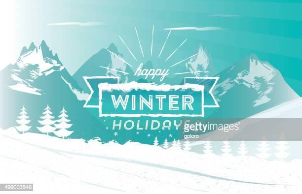 冬のホリデーシンボルのヴィンテージラインにユキコの山の風景 - ウィンタースポーツ点のイラスト素材/クリップアート素材/マンガ素材/アイコン素材