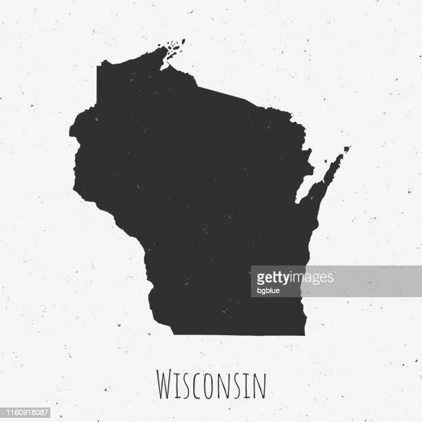 vintage wisconsin map with retro style, on dusty white background - milwaukee wisconsin stock illustrations