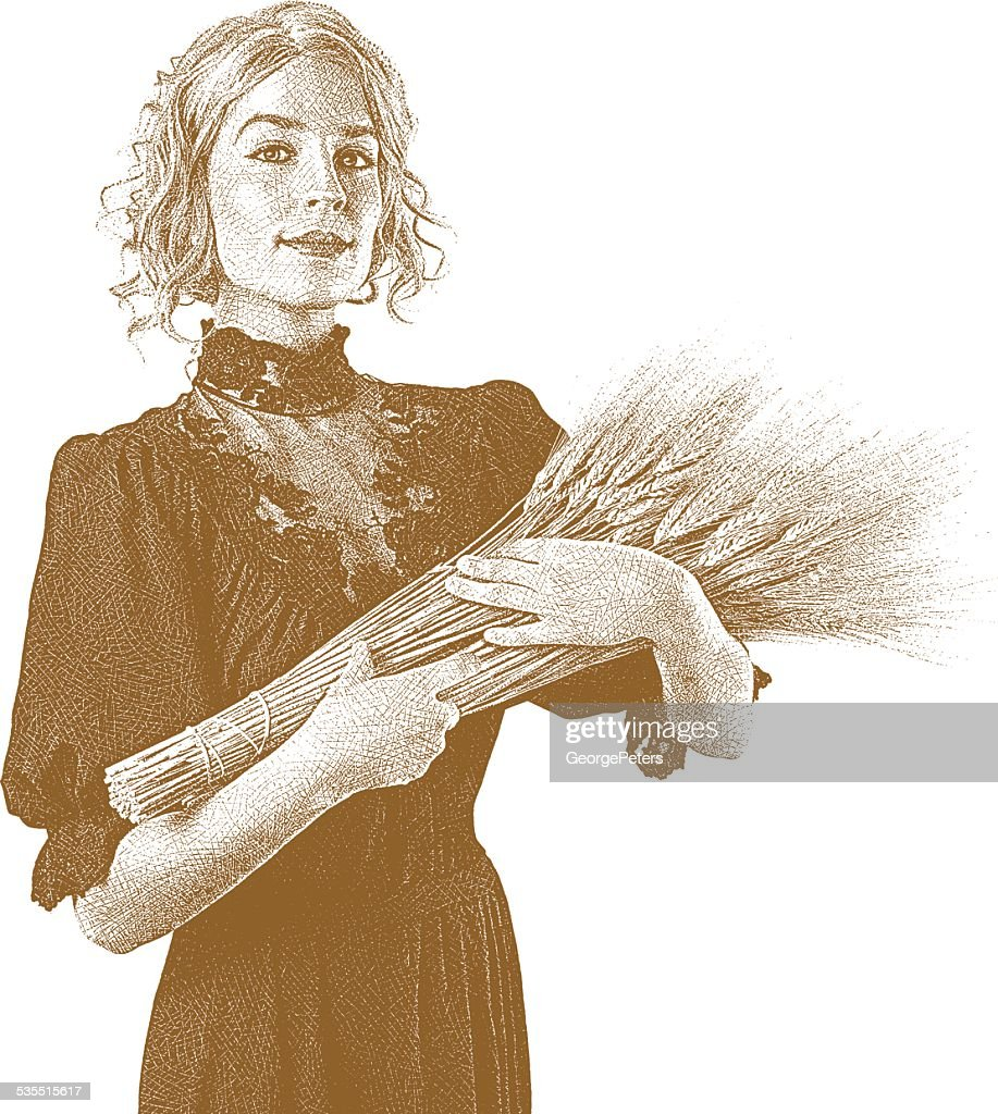 Vintage Woman Holding Wheat Bundle. Sepia
