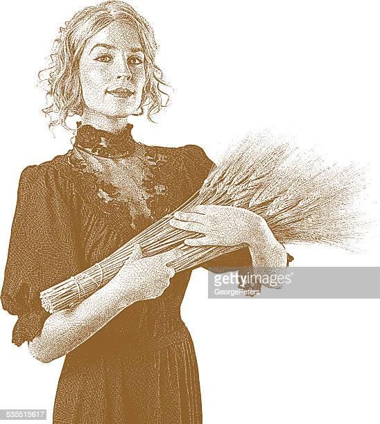 Vintage donna con fascio di spighe di grano. Seppia