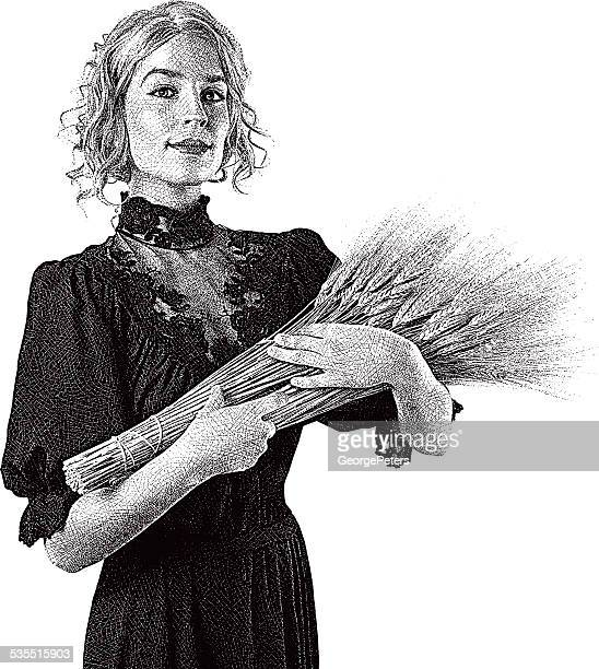 Vintage Woman Holding Wheat Bundle