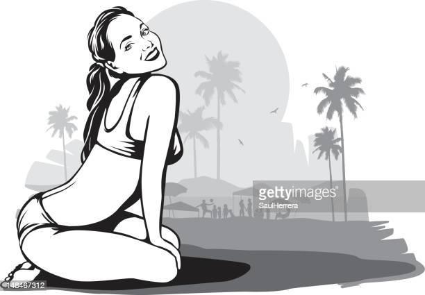 ilustraciones, imágenes clip art, dibujos animados e iconos de stock de vintage mujer en la playa - chicas de calendario