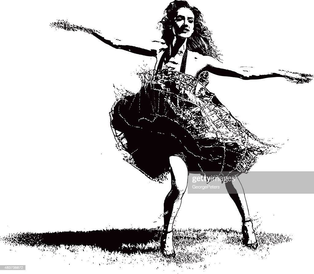 Vintage Woman Latin Dancing : stock illustration