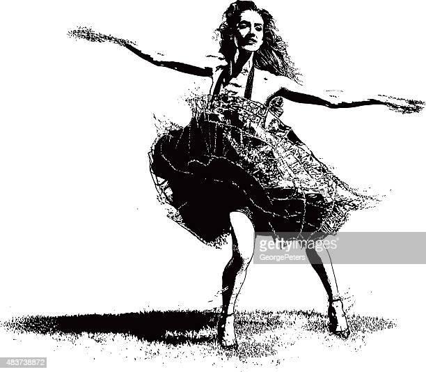 vintage woman latin dancing - salsa dancing stock illustrations, clip art, cartoons, & icons