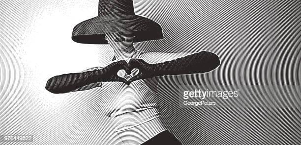stockillustraties, clipart, cartoons en iconen met vintage vrouw maken hart teken met handen - sensualiteit