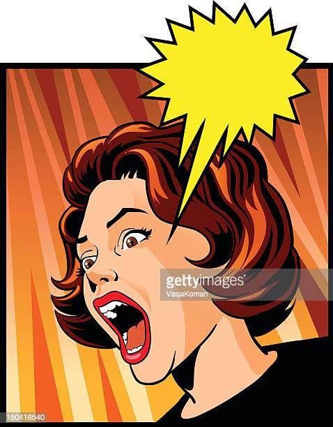 ilustraciones, imágenes clip art, dibujos animados e iconos de stock de vintage mujer pateando con entusiasmo - tirarse de los pelos
