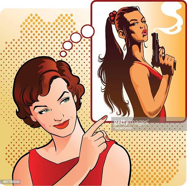 ilustraciones, imágenes clip art, dibujos animados e iconos de stock de vintage mujer enviando una advertencia. - apuntar