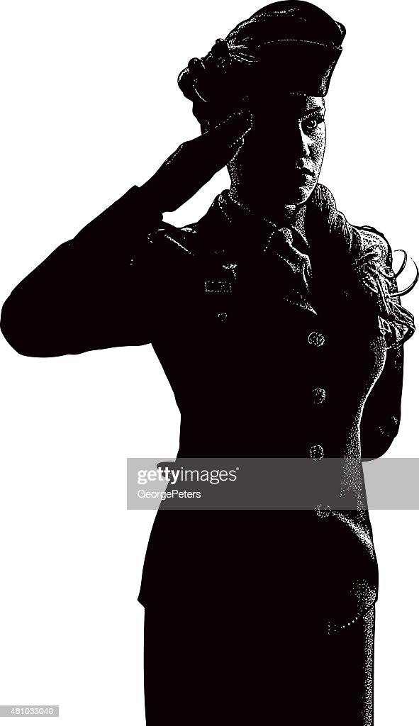 Vintage Woman Soldier Saluting