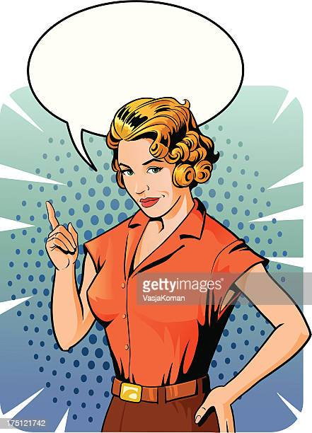 vintage woman telling as it is - attitude stock illustrations, clip art, cartoons, & icons
