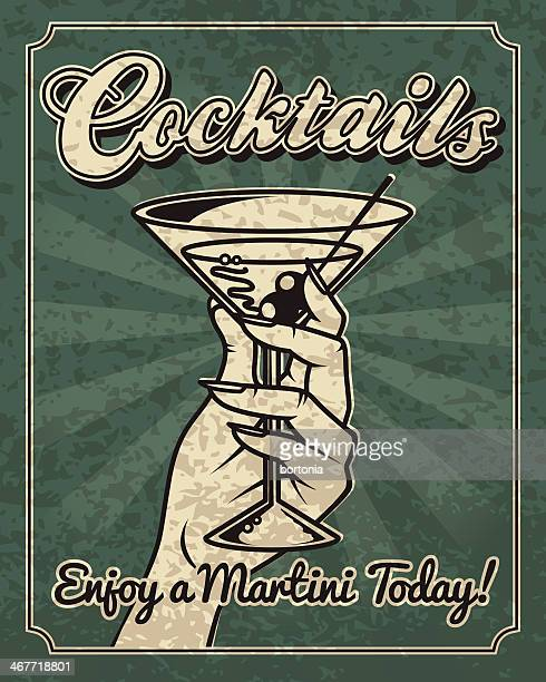 vintage woman with a martini - gin stock illustrations, clip art, cartoons, & icons