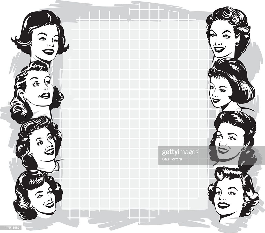 vintage woman with copy space : Vector Art