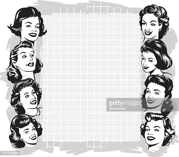 ビンテージ女性、コピースペース付き - ジェンダー・ステレオタイプ点のイラスト素材/クリップアート素材/マンガ素材/アイコン素材