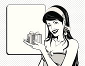 Vintage woman with gift box