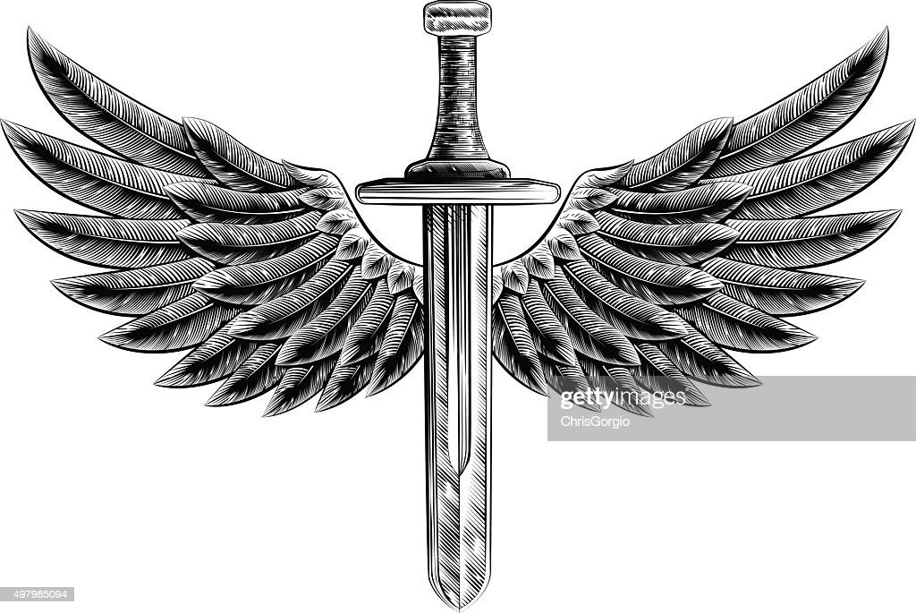 Vintage Woodcut Winged Sword