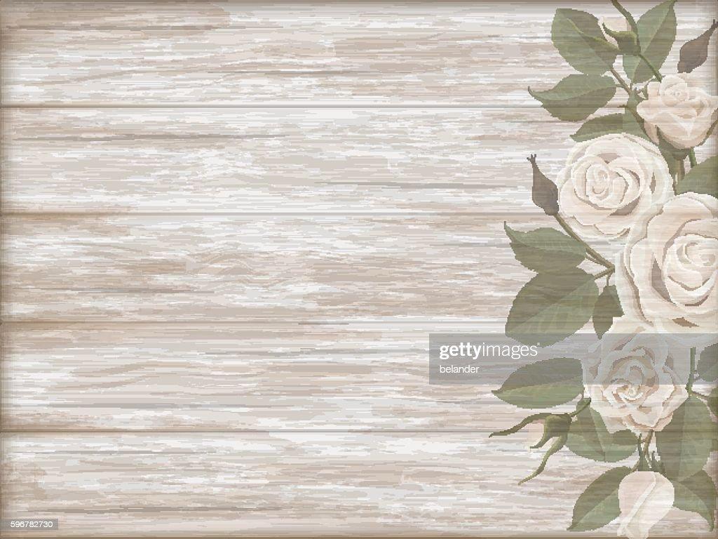 Vintage wooden background white rose bud