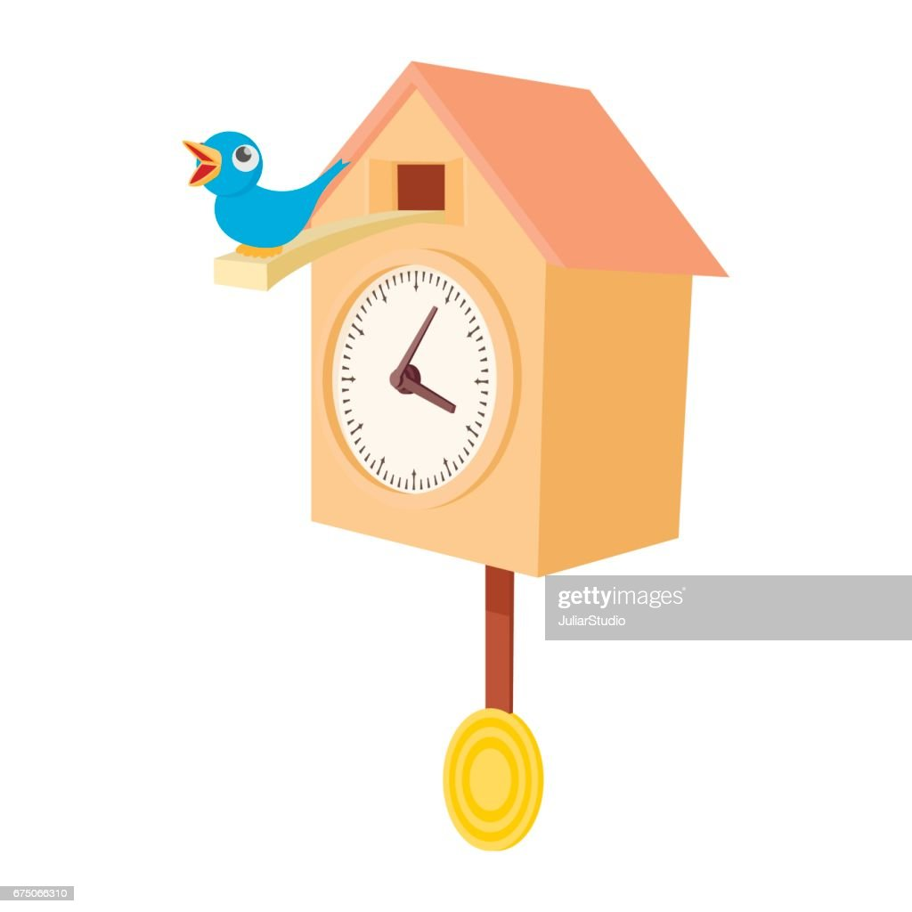 Vintage wooden cuckoo clock icon, cartoon style