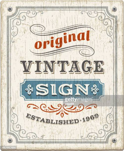 vintage wooden sign - sign stock illustrations, clip art, cartoons, & icons