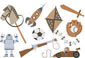 Vintage Wooden Toys Horse Rocket Kite Sword Shotgun Robot Car