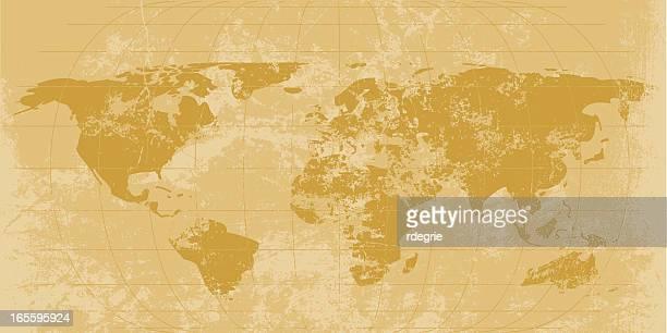 vintage world map - latitude stock illustrations