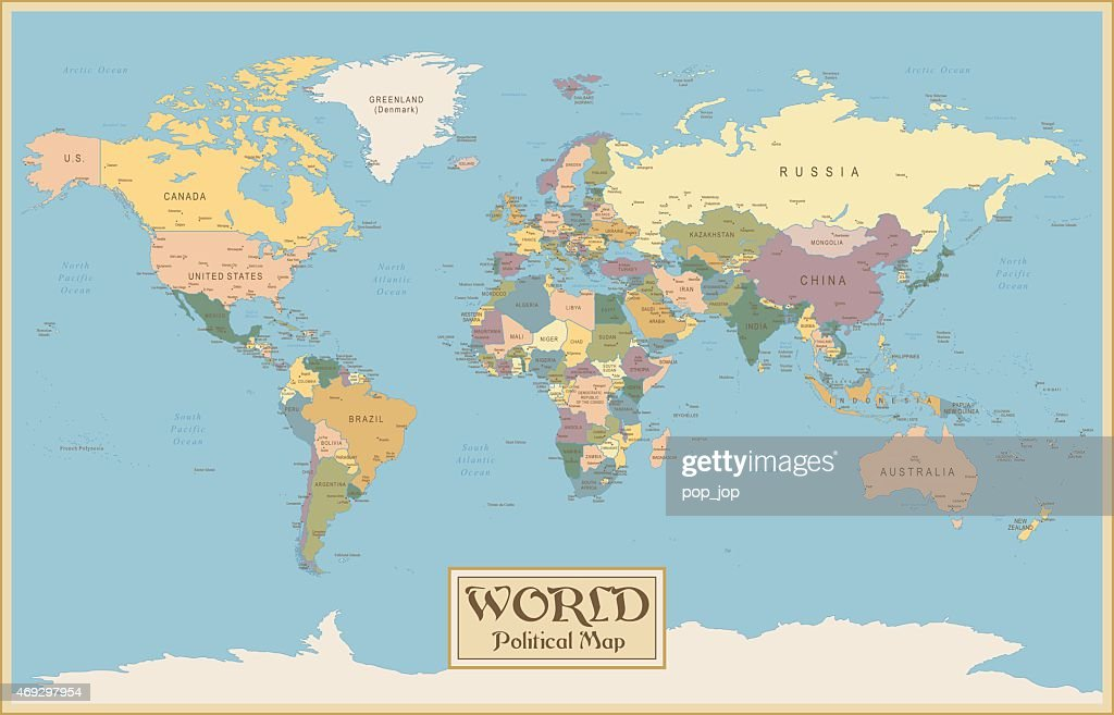 Vintage world map vector art getty images vintage world map vector art gumiabroncs Choice Image