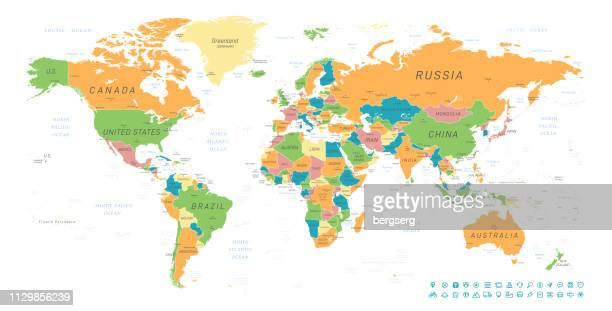 vintage world map. vector illustration - country geographic area stock illustrations, clip art, cartoons, & icons