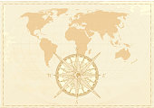 Vintage world map with compass