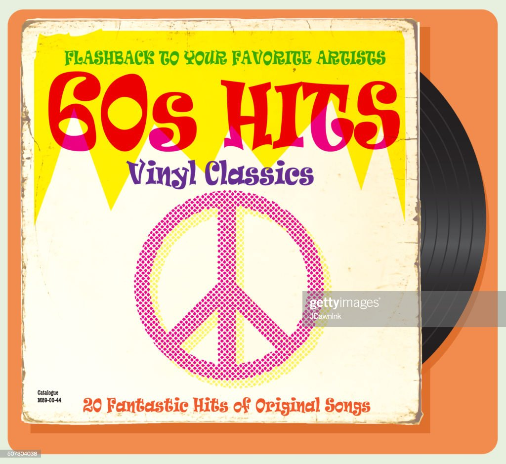 Vintage worn 60s vinyl compilation with peace sign