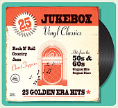 Vintage worn oldies jukebox compilation with retro design