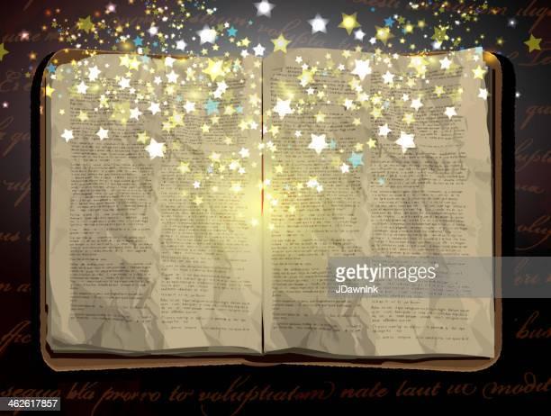 Vintage worn open book design with stars