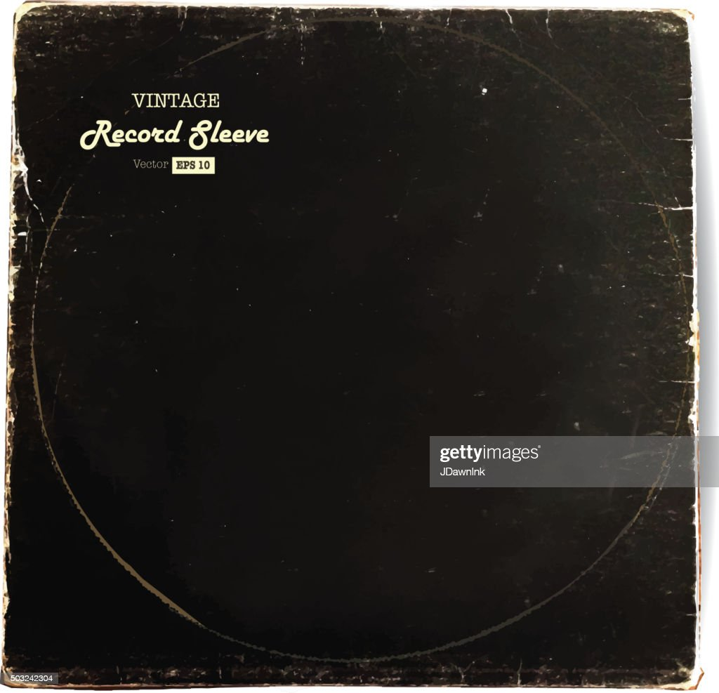 Vintage worn Vinyl Record Sleeve blank in black
