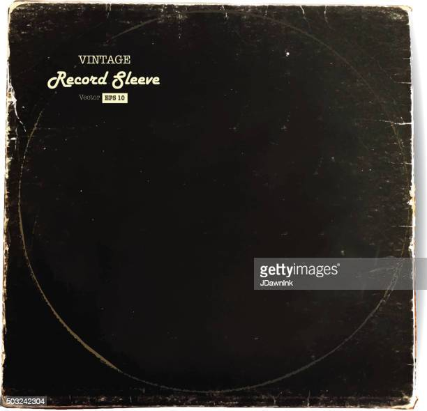 vintage worn vinyl record sleeve blank in black - long sleeved stock illustrations