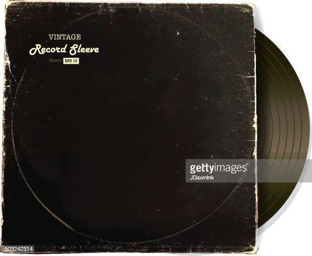 vintage worn vinyl record sleeve blank in black with record - long sleeved stock illustrations