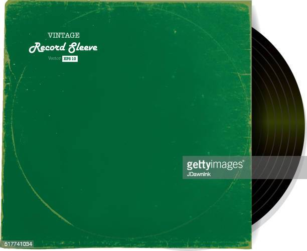 Vintage worn Vinyl Record Sleeve blank in green