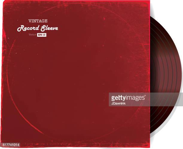 Vintage worn Vinyl Record Sleeve blank in red