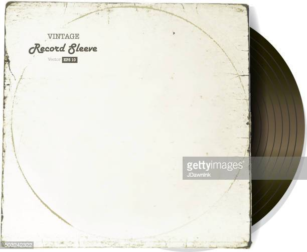 vintage worn vinyl record sleeve blank in white with record - long sleeved stock illustrations