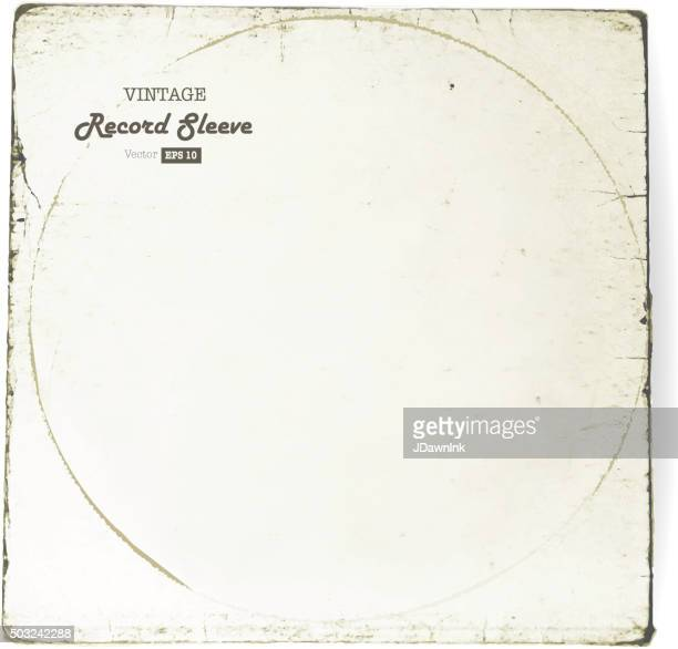 vintage worn vinyl record sleeve blank in worn white - long sleeved stock illustrations