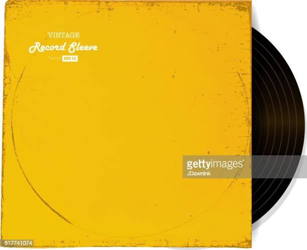vintage worn vinyl record sleeve blank in yellow - long sleeved stock illustrations