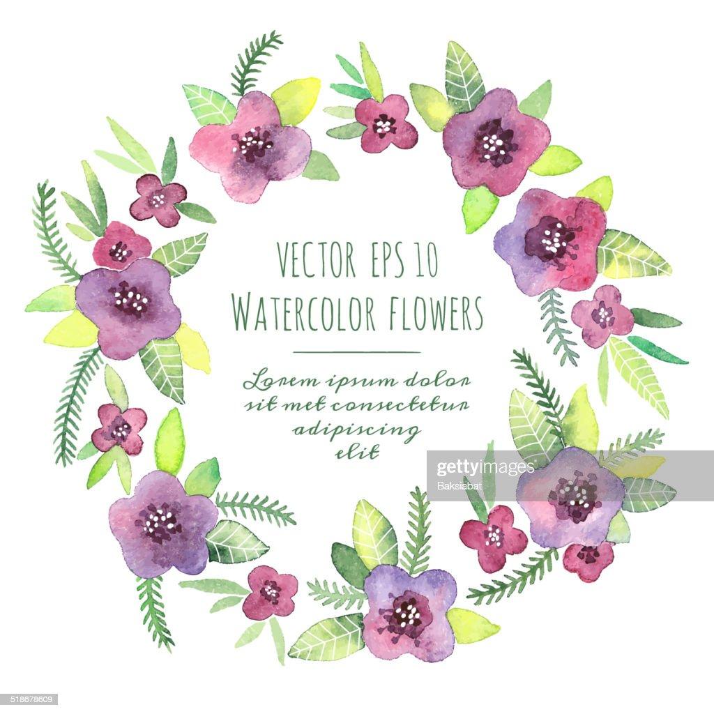 Vintage wreath in vector. Watercolor violets.