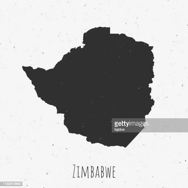 vintage zimbabwe map with retro style, on dusty white background - zimbabwe stock illustrations, clip art, cartoons, & icons