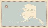 Vintage-Style Alaska Map