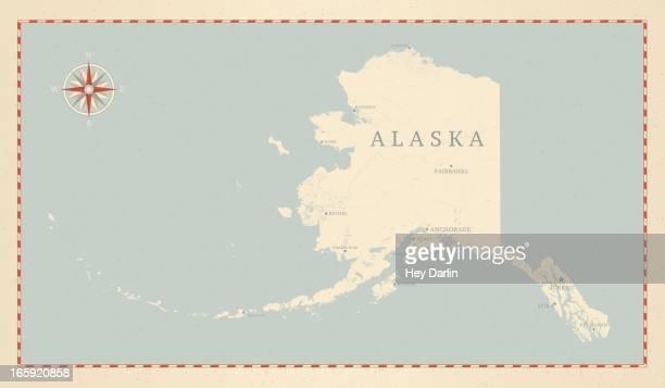 ビンテージスタイルのアラスカマップ - アラスカ点のイラスト素材/クリップアート素材/マンガ素材/アイコン素材