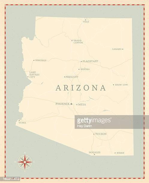 vintage-style arizona map - arizona stock illustrations
