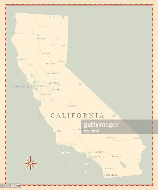ヴィンテージ風カリフォルニアのマップ - カリフォルニア州点のイラスト素材/クリップアート素材/マンガ素材/アイコン素材