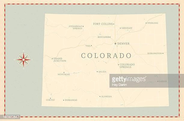 vintage-style colorado map - colorido stock illustrations